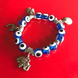 Beautiful Evil Eye Silver Charm Bracelet